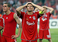 Photo: Paul Thomas.<br /> AC Milan v Liverpool. UEFA Champions League Final. 23/05/2007.<br /> <br /> Dejected Steven Gerrard of Liverpool.
