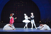 A scene from Swan Lake, with Benno von Sommerstern, Odette, and Prince Siegfried.