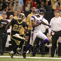 Jan 24, 2010; New Orleans, LA, USA; New Orleans Saints cornerback Tracy Porter (22) in coverage against Minnesota Vikings wide receiver Bernard Berrian (87) during a 31-28 overtime victory by the New Orleans Saints over the Minnesota Vikings in the 2010 NFC Championship game at the Louisiana Superdome. Mandatory Credit: Derick E. Hingle-US PRESSWIRE