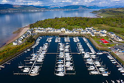 Aerial view of yacht marina and luxury housing development at Kip Marina at Inverkip, Inverclyde, Scotland, UK