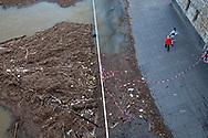 flood of the Rhine on February 5th. 2021, flotsam with waste under the Hohenzollern bridge, Cologne, Germany.<br /> <br /> Hochwasser des Rheins am 5. Februar 2021, Treibgut mit Abfall unterhalb der Hohenzollernbruecke, Koeln, Deutschland.