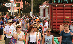 © Licensed to London News Pictures. 26/06/2014. PILTON, UK A 'Banksy stunt' today, at Glastonbury,26th June 2014. British artist Banksy's latest artwork in New York, Sirens of the Lambs, sees a slaughterhouse delivery truck full of stuffed animals driving round the city's streets. Glastonbury Festival 2014 takes place between Wednesday June 25 and Sunday June 29, 2014. Photo credit : Jason Bryant/LNP