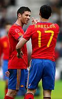 Fotball<br /> Spania v Saudi Arabia<br /> Innsbruck Østerrike<br /> 29.05.2010<br /> Foto: Gepa/Digitalsport<br /> NORWAY ONLY<br /> <br /> FIFA Weltmeisterschaft 2010 in Suedafrika, Vorberichte, Vorbereitung, Vorbereitungsspiel, Freundschaftsspiel, Laenderspiel, Spanien vs Saudi Arabien.<br /> <br /> Bild zeigt den Jubel von Xabi Alonso und Alvaro Arbeloa (ESP).