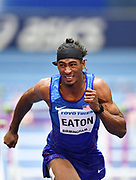 Jarret Eaton (USA) dips for the line as he finished second in his Semi Final of the Men's 60m Hurdles in a time of 7.58 during the final session of the IAAF World Indoor Championships at Arena Birmingham in Birmingham, United Kingdom on Saturday, Mar 2, 2018. (Steve Flynn/Image of Sport)