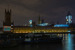 Messages timed to coincide with the Commonwealth Heads of Government Meeting taking place in London are projected onto the Houses of Parliament to draw attention to the plight of the people of Balochistan, a region bordering Pakistan and Iran, accusing Pakistan, a Commonwealth state, of human rights abuses. London, April 17 2018.