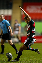 Jack Van Poortvliet of Leicester Tigers kicks for posts - Mandatory by-line: Nick Browning/JMP - 29/01/2021 - RUGBY - Mattioli Woods Welford Road - Leicester, England - Leicester Tigers v Sale Sharks - Gallagher Premiership Rugby