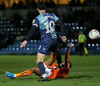 Blackpool's Grant Ward shoots for goal despite the attentions of Wycombe Wanderers' Matthew Bloomfield but it was saved<br /> <br /> Photographer Lee Parker/CameraSport<br /> <br /> The EFL Sky Bet League One - Wycombe Wanderers v Blackpool - Tuesday 28th January 2020 - Adams Park - Wycombe<br /> <br /> World Copyright © 2020 CameraSport. All rights reserved. 43 Linden Ave. Countesthorpe. Leicester. England. LE8 5PG - Tel: +44 (0) 116 277 4147 - admin@camerasport.com - www.camerasport.com