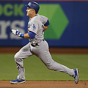 NEW YORK, NEW YORK - May 29:  Chase Utley #26 of the Los Angeles Dodgers running to third base during the Los Angeles Dodgers Vs New York Mets regular season MLB game at Citi Field on May 29, 2016 in New York City. (Photo by Tim Clayton/Corbis via Getty Images)