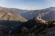 Vista di Triora dal cimitero.   View from the cemetery of Triora village.
