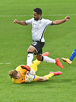 Football - 2020 / 2021 Sly Bet Championship - Swansea City vs Queens Park Rangers - Liberty Stadium<br /> <br /> Joe Lumley of QPR saves at the feet of Wayne Routledge of Swansea City after he ibreaks clear<br /> <br /> COLORSPORT/WINSTON BYNORTH