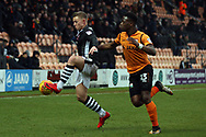 Danny Rowe of Lincoln City (L) in action with David Tutonda of Barnet (R). EFL Skybet Football League two match, Barnet v Lincoln City at the Hive in London on Saturday 20th January 2018. <br /> pic by Steffan Bowen, Andrew Orchard sports photography.