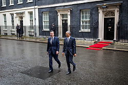 © Licensed to London News Pictures. 22/04/2016. London, UK. US President Barack Obama visits 10 Downing Street for a joint press conference with British Prime Minister David Cameron. Obama is expected to make his case for the UK to remain inside the European Union, as part of his four day tour to the UK. Photo credit : Tom Nicholson/LNP