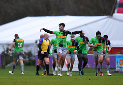 Max Coyle of Harlequins XV celebrates - Mandatory by-line: Paul Knight/JMP - 02/12/2018 - RUGBY - Clifton RFC - Bristol, England - Bristol Bears United v Harlequins - Premiership Rugby Shield
