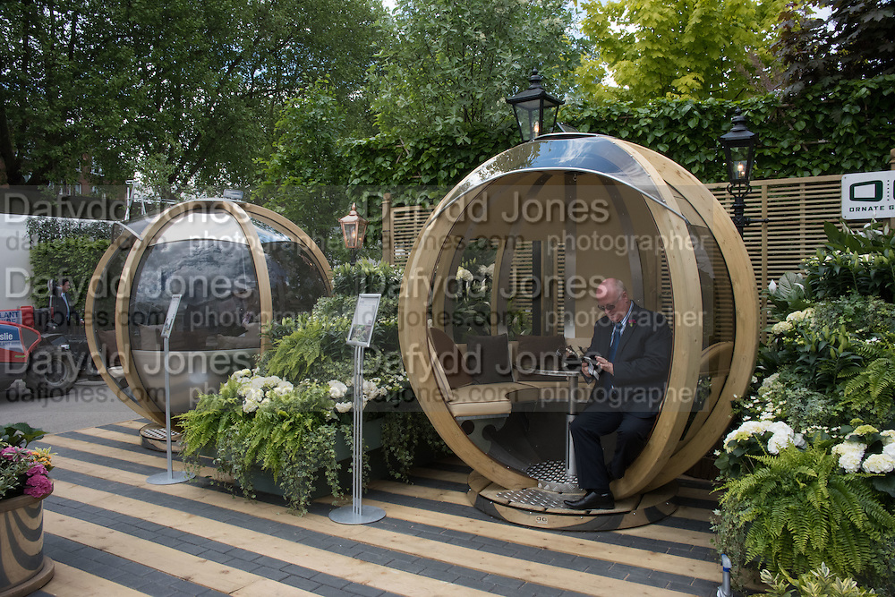ORNATE GARDEN made in birmingham, britax, Press view of the 2016 RHS  Chelsea Flower Show,  London.