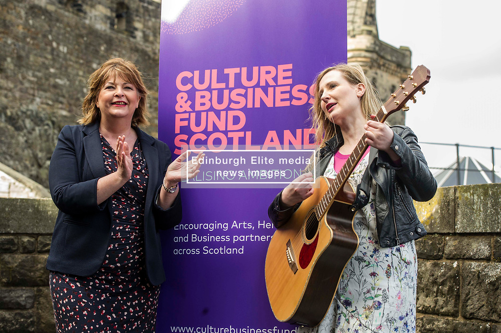 EMBARGOED UNTIL 00:01 3 APRIL 2017  FREE TO USE  FREE TO USE FREE TO USE<br /> Pictured: Fiona Hyslop and Louise Quinn Tromoloa Productions <br /> On Friday, Culture Secretary Fiona Hyslop visited Edinburgh Castle and launched the Culture & Business Fund Scotland. Funded by the Scottish Government via Creative Scotland and Historic Environment Scotland the fund will encourage the development of arts, heritage and business partnerships<br /> <br /> Ger Harley   EEm 31 March 2017