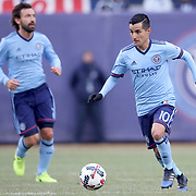 NEW YORK, NEW YORK - March 18: Maximiliano Moralez #10 of New York City FC watched by team mate Andrea Pirlo #21 of New York City FC in action during the New York City FC Vs Montreal Impact regular season MLS game at Yankee Stadium on March 18, 2017 in New York City. (Photo by Tim Clayton/Corbis via Getty Images)