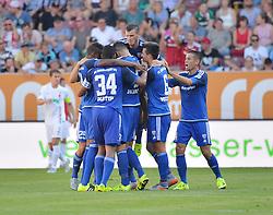 29.08.2015, WWK Arena, Augsburg, GER, 1. FBL, FC Augsburg vs FC Ingolstadt 04, 3. Runde, im Bild Torjubel des FC Ingolstadt 04 // during the German Bundesliga 3rd round match between FC Augsburg and FC Ingolstadt 04 at the WWK Arena in Augsburg, Germany on 2015/08/29. EXPA Pictures © 2015, PhotoCredit: EXPA/ Eibner-Pressefoto/ Hierm<br /> <br /> *****ATTENTION - OUT of GER*****