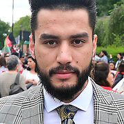 Marble arch, London, UK. 2021-08-28. Afghan actor Bizhan Neromand attend the protest to Stop Killing Afghans march in London shout for peace end the proxy war in Afghanistan.