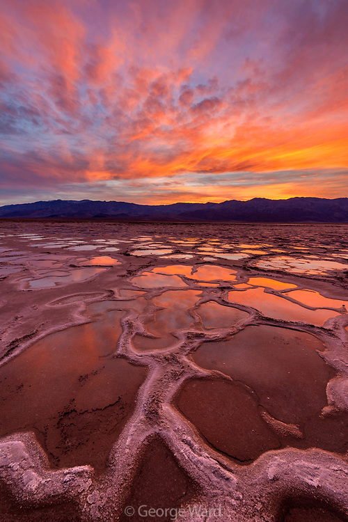 Playa after Rain as Sun Sets over the Panamint Range, Death Valley National Park, California