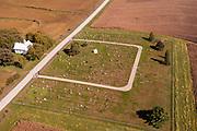 Aerial photograph of rural farmland in Mills County, Iowa, USA.