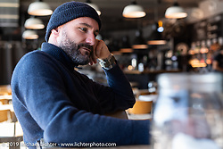 Ace Cafe Luzern founder and owner Dany Kunz on a visit to the Ace after the Swiss Moto show. Switzerland, Monday, February 25, 2019. Photography ©2019 Michael Lichter.