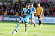 Paris Cowan-Hall of Wycombe Wanderers in action. EFL Skybet football league two match, Newport county v Wycombe Wanderers at Rodney Parade in Newport, South Wales on Saturday 9th September 2017.<br /> pic by Andrew Orchard, Andrew Orchard sports photography.