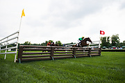 April 29, 2017, 22nd annual Queen's Cup Steeplechase. HENRY SAN and jockey Darren Nagle lead over the last in the $20,000 Allowance Timber race.