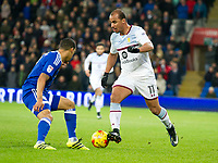 Football - 2016 / 2017 Championship - Cardiff City vs. Aston Villa<br /> <br /> Gabby Agbonlahor of Aston Villa & Sean Morrison Cardiff City--, at Cardiff City Stadium.<br /> <br /> COLORSPORT/WINSTON BYNORTH