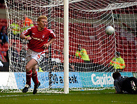 Photo: Jed Wee.<br />Nottingham Forest v Weymouth. The FA Cup.<br />05/11/2005.<br />Forest's Gary Holt celebrates after his goal.
