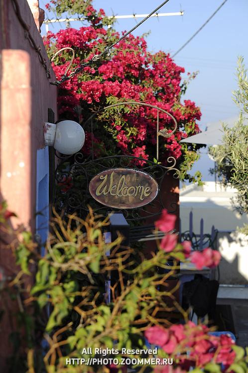 Beautiful garden of Santorini art shop with Welcome sign