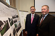 Repro FREE : Eamon O Cuiv TD and Dr. Kevin Heanue, Chairman of Connemara West at the launch of Connemara West's  ambitious International Residential Education Centre at a briefing in the Hotel Meyrick, Galway . The Centre, in the village of Tullycross, County Galway will consist of a state-of-art newly built education hub with a 50 seat auditorium; a wifi-enabled library; group study/breakout rooms; video conferencing facilities; meeting rooms; a conference room; community meeting rooms and a coffee dock. <br /> The accommodation part of the Centre will be made up of the renovated iconic 9 thatched cottages in Tullycross village, Connemara West's first project in 1973, and will hold up to 40 students and faculty.<br /> Photo:Andrew Downes, xposure