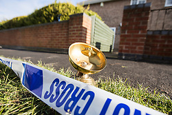 © Licensed to London News Pictures. 19/02/2016. Haxby UK. Picture shows a light fitting from a house that exploded this morning laying two streets away from the scene. At least one casualty has been reported after a detached house was destroyed on Springwood in Haxby in what is believed to be a gas explosion. Photo credit: Andrew McCaren/LNP