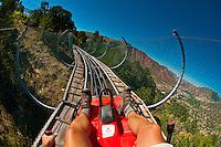 Canyon flyer (an alpine rollercoaster), Glenwood Caverns Adventure Park, Glenwood Springs, Colorado USA