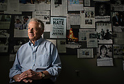 MONTGOMERY, AL -- 5/25/17 -- Even at age 80, Morris Dees still comes into the office daily. The attorney has made a career taking down racist organizations and hate groups over the years, and has created an infrastructure to continue that work well into the future. Dees is pictured in the SPLC War Room among clips that celebrate their many legal victories.<br /> Civil Rights attorney Morris Dees co-founded the Southern Poverty Law Center in 1971. The group has taken on the Ku Klux Klan and fought for against hate for decades, but is now facing criticism that it has labeled some groups without just cause..…by André Chung #_AC17415