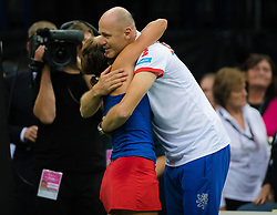 November 10, 2018 - Prague, Czech Republic - Barbora Strycova of the Czech Republic hugs team captain Petr Pala at the 2018 Fed Cup Final between the Czech Republic and the United States of America (Credit Image: © AFP7 via ZUMA Wire)