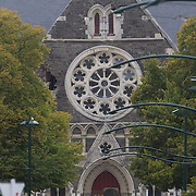 The earthquake damaged Cathedral building in Christchurch. A Powerful earth quake ripped through Christchurch, New Zealand on Tuesday lunch time killing at least 65 people as it brought down buildings, buckled roads and damaged houses, churches and the Cities Cathedral. 23rd February 2011.  Photo Tim Clayton