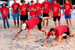 Andrej Flajs (R) during VIP game at Zavarovalnica Triglav Beach Volley Open as tournament for Slovenian national championship on July 30, 2011, in Kranj, Slovenia. (Photo by Matic Klansek Velej / Sportida)