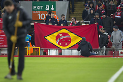 Halbfinale im Liga-Pokal Liverpool vs Leeds 1:0 in Liverpool / 291116<br /> <br /> ***LIVERPOOL, ENGLAND 29TH NOVEMBER 2016:<br /> A flag is up at Anfield Stadium in Liverpool before the English League Cup soccer match between Liverpool and Leeds in tribute to the members of Chapecoense football team from Brazil who died in a plane crash in Colombia en route to play in the final of the Copa Sudamericana England November 29th 2016***