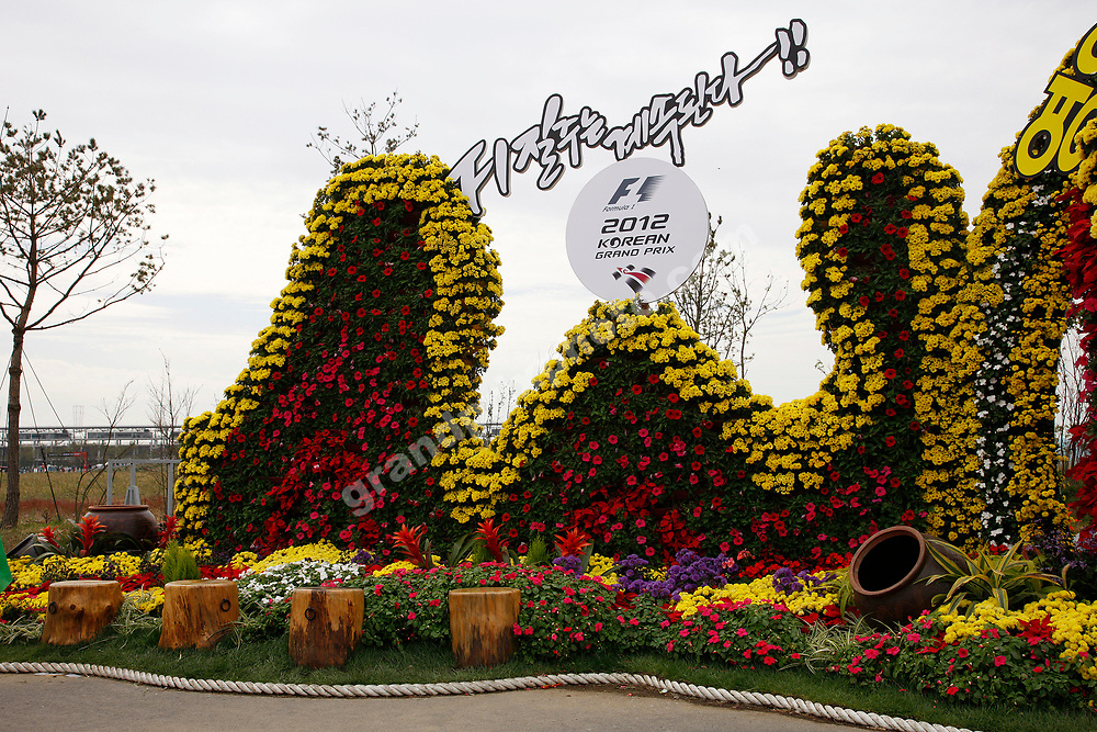 Flowers at circuit entrance before the 2012 Korean Grand Prix in Yeongam. Photo: Grand Prix Photo