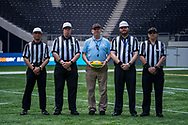 Supervising officer Roger Goodgroves and todays official referees for todays NFL Flag National Championship Finals during the NFL UK Media Day at Tottenham Hotspur Stadium, London, United Kingdom on 3 July 2019.