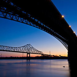 Bridges over the Mississippi River at dawn in St. Louis, Missouri.