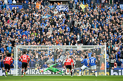 Everton fans watch as David De Gea of Manchester United saves Romelu Lukaku of Everton penalty. - Mandatory by-line: Alex James/JMP - 23/04/2016 - FOOTBALL - Wembley Stadium - London, England - Everton v Manchester United - The Emirates FA Cup Semi-Final