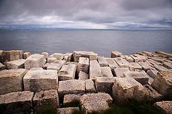 Portland stone blocks, Isle of Portland, Dorset, England, UK.