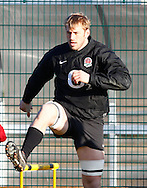 Picture by Andrew Tobin/Focus Images Ltd. 07710 761829.. 2/2/12. England captain Chris Robshaw warms up during the England team training session held for the first time at Surrey Sports Park, Guildford, UK, before their 6-Nations game against Scotland