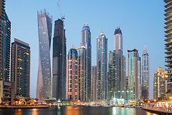 Night view of modern skyscrapers at Marina district of  Dubai United Arab Emirates