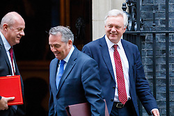 © Licensed to London News Pictures. 10/01/2017. London, UK. Work and Pensions Secretary DAMIAN GREEN, International Trade Secretary LIAM FOX and Secretary of State for Exiting the European Union DAVID DAVIS attend a cabinet meeting in Downing Street on Tuesday, 10 January 2017. Photo credit: Tolga Akmen/LNP