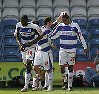 Photo: Lee Earle.<br /> Queens Park Rangers v Cardiff City. Coca Cola Championship. 21/04/2007.QPR's Dexter Blackstock (R) is congratulated after scoring their opening goal.