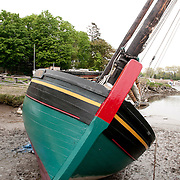 """The Lewis H. Story, a """"Chebacco"""" boat built for the Essex Shipbuilding Museum in the Burnham Shipyard, Essex, MA."""