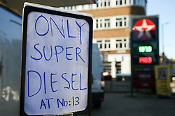 © Licensed to London News Pictures. 29/09/2021. London, UK. 'Only Super Diesel at No:13' sign displayed at the entrance of Texaco petrol station in Hackney, north London as the station runs out of motor fuel on the sixth day of the fuel crisis. According to the government, 75 army tanker drivers have been put on standby to deliver motor fuel in order to ease the chaos at petrol stations. Photo credit: Dinendra Haria/LNP