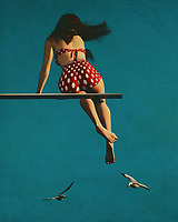 If there is one thing that can make me nostalgic about my youthful days, it's the thought of Girl wearing a bikini on the diving board. I don't care for the bikini anymore but when I see a girl in one I always think back to my earlier years. The fifties are a long-gone era and when you look back at them you may think that it was a different time altogether. Back then the world seemed to be at peace and people were more laid back. Things aren't quite as relaxed today, so I imagine that the concept of Girl wearing a bikini on the diving board may have crossed your mind at some point.<br /> <br /> I actually did a painting once of a girl wearing a bikini on the diving board and it looked pretty good. Back then it was a popular thing to paint people in the fifties and you had to pay a lot of money to have any sort of artist do it. Today, if you just look around you can get some great artists who can do a great job. It isn't cheap painting and the results can be awesome if you get it on the right material.